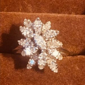 Vintage 14 KT White Gold Diamond Cluster Ring